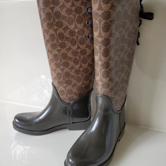 Coach Tie-back Rain Boots Worn Once